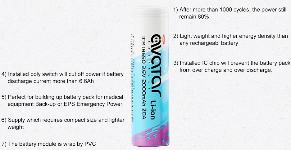Avatar ICR 18650 Battery