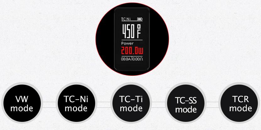 The optional VW TC Ni TC Ti TC SS TCR mode will provide you with wonderful vaping enjoyment  Wismec